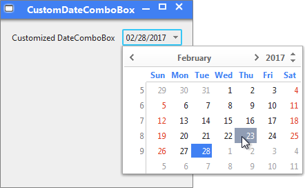 DateComboBox hover support