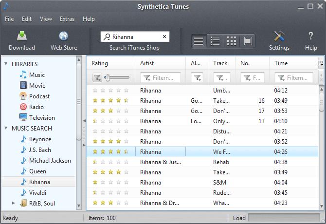SyntheticaTunes screenshot