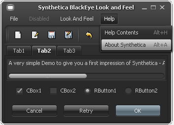 SyntheticaBlackEye Java Look and Feel