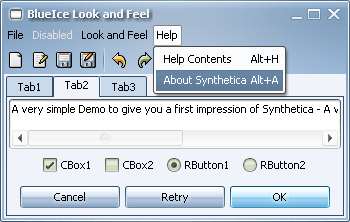 SyntheticaBlueIce Java Look and Feel