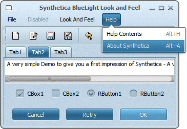 SyntheticaBlueLight Java Look and Feel