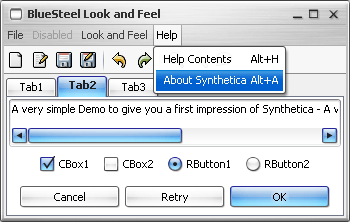 SyntheticaBlueSteel Java Look and Feel