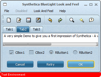 Synthetica Look and Feel Screenshot Border Text Support