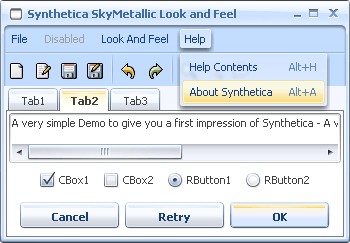 SyntheticaSkyMetallic Java Look and Feel