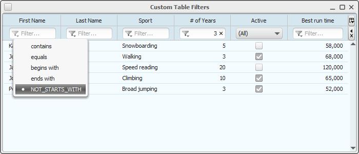 JYTable - custom filter
