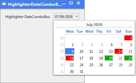 JYDateComboBox Highlighter Screenshot