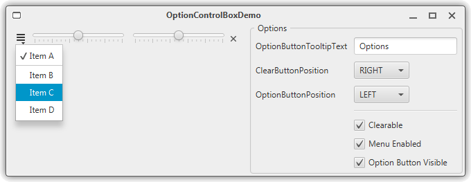 OptionControlBox-Demo Screenshot